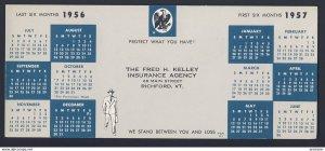 RICHFORD VERMONT USA - Fred H. Kelley Insurance Agency - 1956/1957  BLOTTER