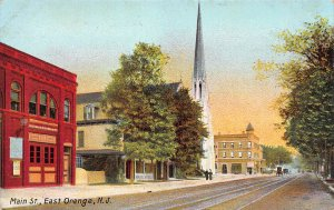 Main Street, Orange, New Jersey, Early Postcard showing the Firehouse, Unused