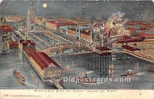 Amusement Park Postcard Post Card Bird's Eye View at Night Coney Island,...