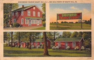 South Hill Virginia Greenwood Tourist Court Linen Antique Postcard J57710