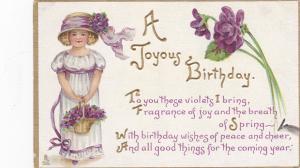 BIRTHDAY Greetings, 00-10s; A Joyous Birthday, Poem, TUCK # 193