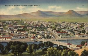 Birdseye View Ciudad Jurez Mexico - Linen Postcard