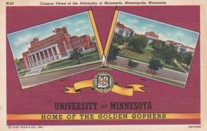 Minnesota Minneapolis Campus Views Of University Of Minneapolis 1951 Curteich