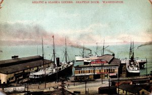 Washington Seattle Asiatic and Alaska Liners At The Dock
