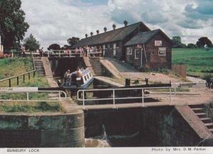 Bunbury Lock Cheshire Boat Ship Canal Tent Calor Gas Hanging Sign Shop Postcard