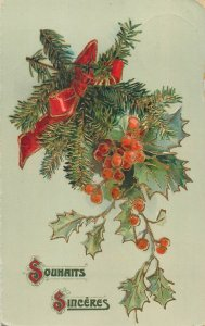 Postcard Greetings flowers tree branch