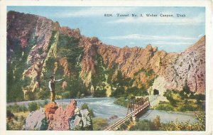 Weber Canyon, UT Train Tunnel Number 3 1939 Postcard  to Mrs J E Drew Andover MA