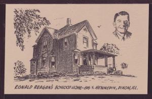 Ronald Reagan's Boyhood Home Dixon IL Post Card 3476