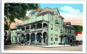 Clyde, New York Postcard BURTIS HOTEL Building, Street View Tichnor 1930s Unused