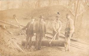 Men Working On Railroad Real Photo Antique Postcard K12717