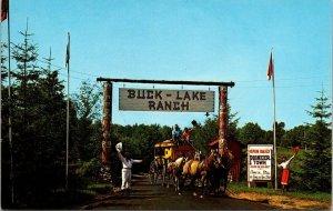 VTG Postcard Buck Lake Ranch Entrance US 27 Angola Indiana Unposted   1053