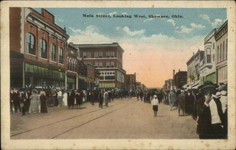 Shawnee OK Main St. West c1920 Postcard