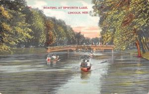 Lincoln Nebraska~Ladies on Epworth Park Footbridge~Rowboats Under~c1910 Postcard