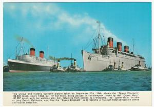 Shipping; Liners Queen Mary & Queen Elizabeth In Southampton Docks 27-9-46 PPC