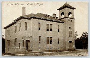 Corning Iowa~High School~Open Belfry~Front Door Open~Demolished 1980s~1911 Sepia