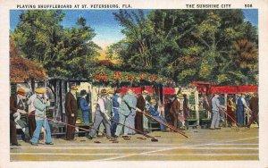 Playing Shuffleboard at St. Petersburg, Florida, Early Postcard, Unused