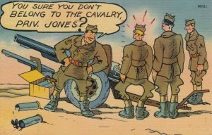 MILITARY COMIC, PU-1942; Soldier being teased for Bowlegs