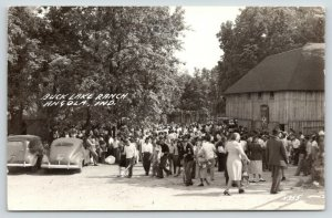 Angola Indiana~Buck Lake Ranch~Crowd by Parking Entrance~Pavilion~1940s RPPC