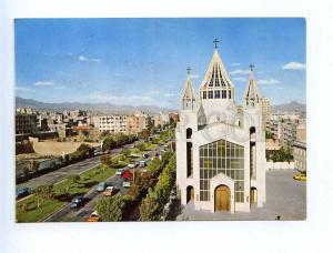 192870 IRAN TEHRAN Church old photo RPPC w stamps 1974 Pahlewi