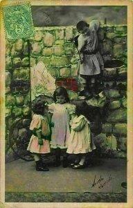 Children Climbing a Wall Postcard