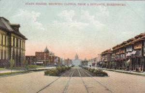 Pennsylvania Harisburg State Street Showing Capitol From A Distance