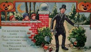 Vintage Halloween Postcard Whitney Kids Tripping Man 2 Pumpkins Pranks Series