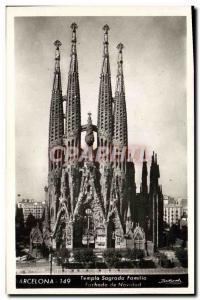 Old Postcard Barcelona Temple Sagrada Familia Fachada De Navidad