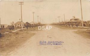 Texas Tx Postcard Real Photo RPPC c1910 McALLEN Palm Boulevard Homes