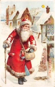 Hold To Light Santa Claus Writing on back light horrizontal crease near top e...