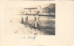 F42/ Occupational RPPC Postcard c1910 Shoup Barn Farming Field 14