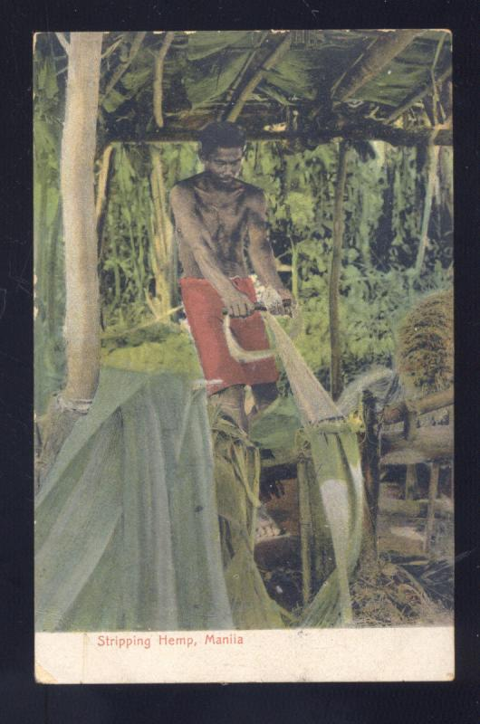 MANILA PHILIPPINES STRIPPING HEMP FARM FARMING ANTIQUE VINTAGE POSTCARD 1906