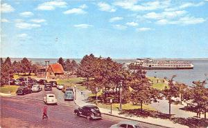 Plymouth Harbor MA Pilgrim House Street View Old Cars Postcard