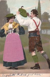 Switzerland Locals In Traditional Costume 1909 Embroidered