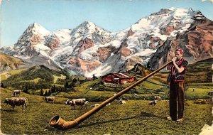 Alphornblaser Switzerland 1957 Missing Stamp