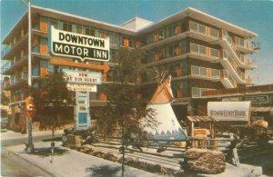 Downtown Motor Inn Cheyenne, WY Exterior View, Teepee, Howdy Wagon Postcard