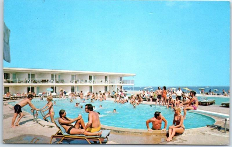Point Pleasant Beach New Jersey Postcard Beacon Manor Hotel Motel Pool