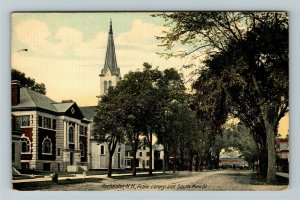 Rochester NH-New Hampshire Public Library And South Main Street Vintage Postcard