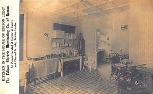 Boston MA Edison Electric Illumination House Kitchen RPPC Postcard