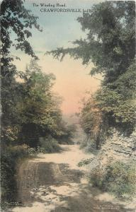 Crawfordsville IN Handcolored: Winding Mud Road Through Forest~c1910 Postcard pc