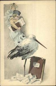 Stork & Intellectual Baby Glasses Scales Book c1905 Postcard