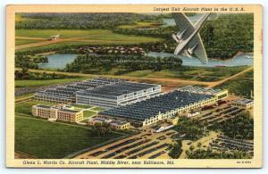 Postcard MD Middle River Baltimore Glenn Martin Aircraft Plant Linen R25
