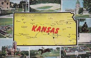 Kansas Map and Multi View Showing Stadium University Of Kansas