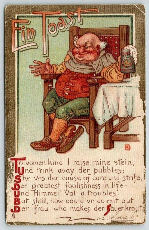 TUCK To Vimmins Fair~German Fellow Toasts~Foaming Beer Stein~Makes Sauer-Kraut