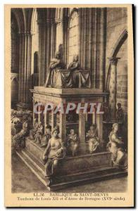 Postcard Old Death Basilica of Saint Denis Tomb of Louis XII and & # 39Anne B...
