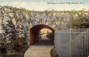 Newport Rhode Island~Old Tunnel~Cliff Walk~White Wrought-Iron Fence 1912 PC