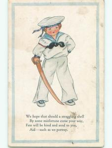Pre-Linen military NAUTICAL THEME - NAVY SAILOR BOY IN USS HAT WITH SWORD J3193