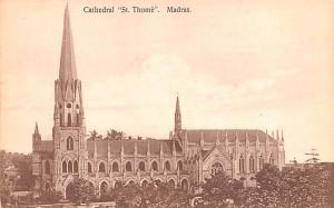 Spain Old Vintage Antique Post Card Cathedral St Thome Madras Unused