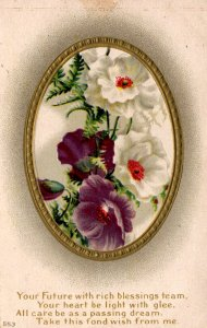 Fond Wishes - Flowers in a Gold Frame - Rich Blessings - c1908