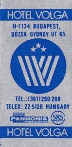 Hungary Budapest Hotel Volga Vintage Luggage Label sk3738