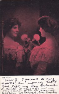 Woman putting on makeup The Toilet ,PU-1903, TUCK